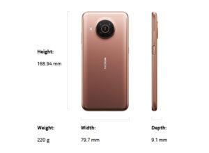Nokia X20 Size & weight
